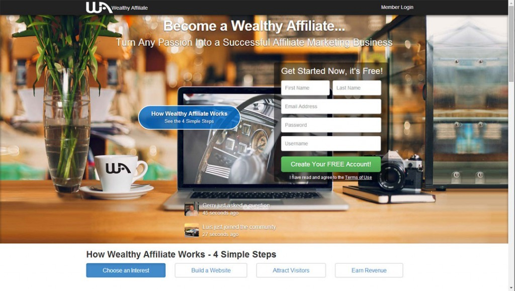 Wealthy Affiliate Home