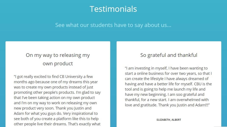 ClickBank student testimonials