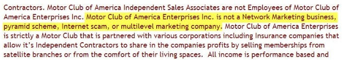 Motor Club of America MLM disclaimer