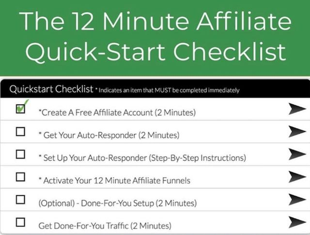 12 minute affiliate checklist